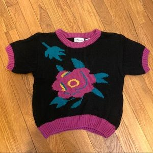 Vintage Floral Knit Cotton Cropped Sweater